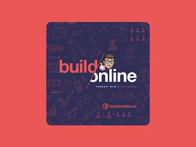 Build Online Podcast branding logo illustration design