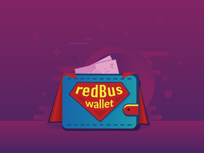 redBus wallet ui branding logo design superman cash wallet illustration art
