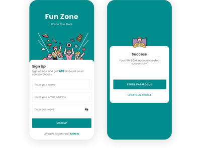 Fun Zone, Toys for kids registration sign up toy app toys app ecommerce kids store toys toy store dailyui