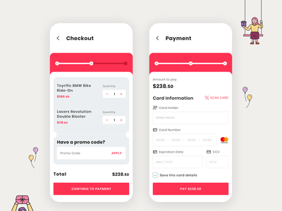 Checkout and Credit Card Payment ux ui ecommerce toy store shopping cart payment credit card checkout dailyui