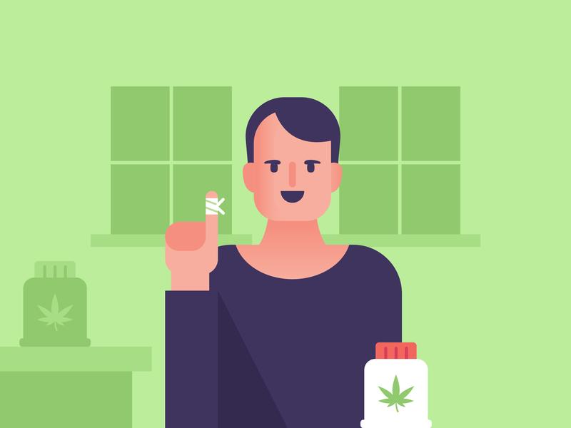 CBD Relieves Pain cbd flat web vector icon flat design design illustration infographic cbd oil marijuana