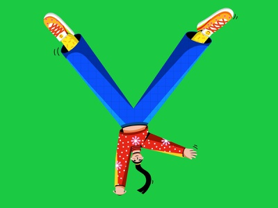 Y Stand for Y 36days procreate character illustration breakdance dancing girl illustration woman illustration filipino 36daysoftype illustrations colorful design flat illustration