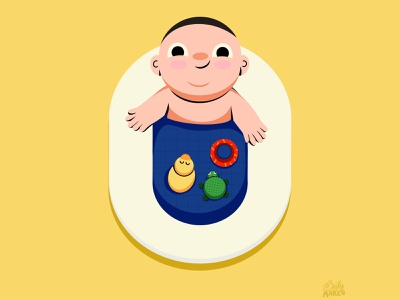 Zero for 36 Days of Type baby shower bath tub child kid baby baby illustration character illustration filipino 36daysoftype flat design illustrations colorful design flat illustration