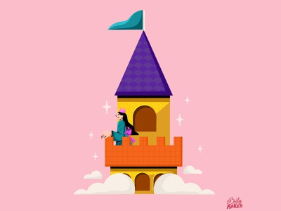 One for 36 Days of Type tower princess castle castle illustration filipino procreate 36days 36daysoftype flat design illustrations colorful design flat illustration