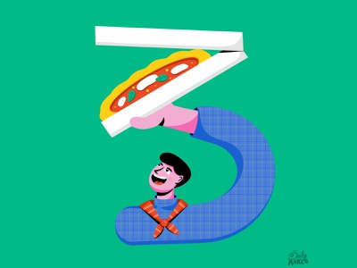 Three for 36 Days of Type food illustrator pizza box pizza character illustration filipino 36days procreate 36daysoftype flat design illustrations colorful design flat illustration