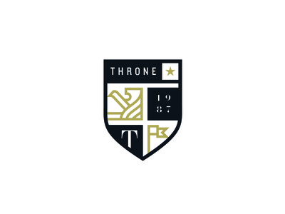 Throne black gold shield lion throne couture fashion clothing star logo identity brand