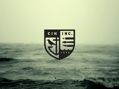 C. I. Hood, Inc identity concept logo mark identity logo designer logotype visual identity nick hood brand design branding logo mark illustration symbol badge crest enclosure sea waves anchor crow raven pencil paintbrush knife
