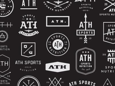 ATH Sports Nutrition concepts logo mark identity logo designer logotype visual identity nick hood brand design branding logo mark illustration symbol typography black sports nutrition ath natural strength endurance