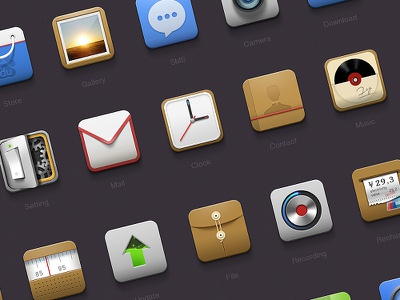 Android icons icons update ui redio stroe android mail setting clock contant music gallery sms recording pay file