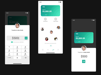 Drag To Transfer Concept - Part One money transfer finance iphone interaction mobile motion framer react micro animation ui ux clean