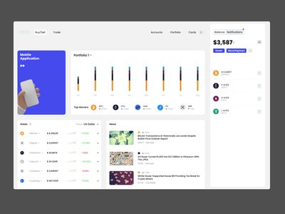 Crypto Dashboard Animation - Part One web crypto framer.js animation micro interaction dashboard ux clean ui