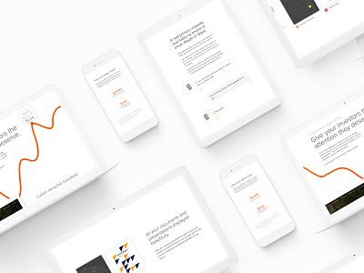 Investors page website minimal graph homepage webpage ui clean