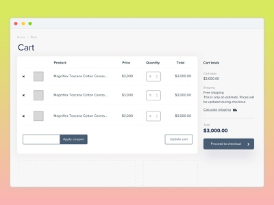 WooCommerce Cart Page ecommerce page cart woocomerce website web webpage ux clean ui
