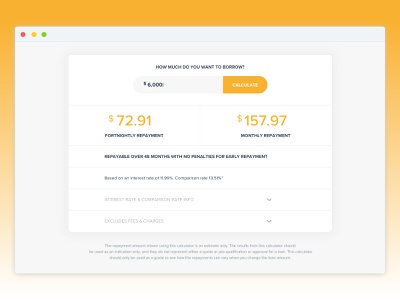 Repayment Calculator calculator design simple web ux clean ui