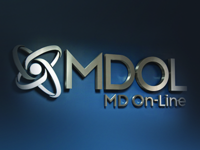 MDOL (MD On-Line) logo branding medical