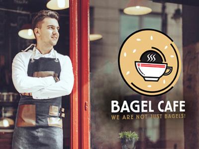 Bagel Cafe illustration branding logo design