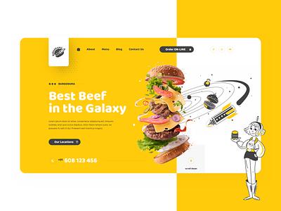 Burgerama Hero 🍔 web flat webdesign website cartoon illustration user interface minimal ui fast food hamburger burgers