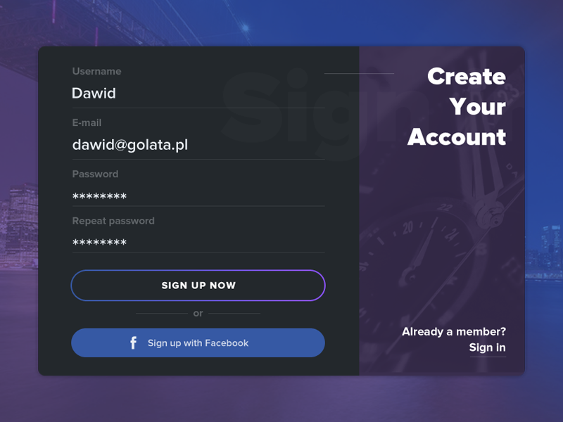 Daily UI #001 - Sign Up signin register login form ux ui sign signup interface 001 dailyui