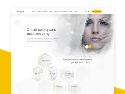 Cosmetology - rejected project user interface designm ui white yellow clean cosmetology cosmetic website web