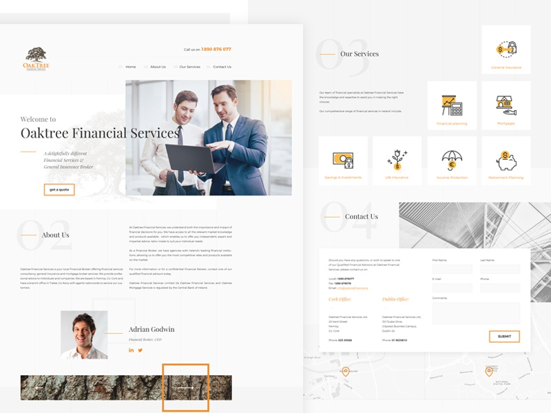 Financial Services clean finance minimal light design webdesign web landing onepage