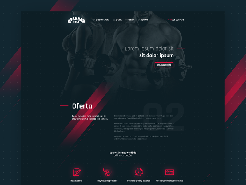 Gym website onepage ui user interface design web fitness fit minimal dark gym