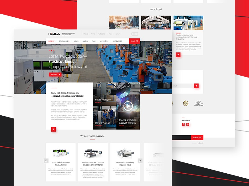 CNC Machines cnc light dark website black red technical. flat