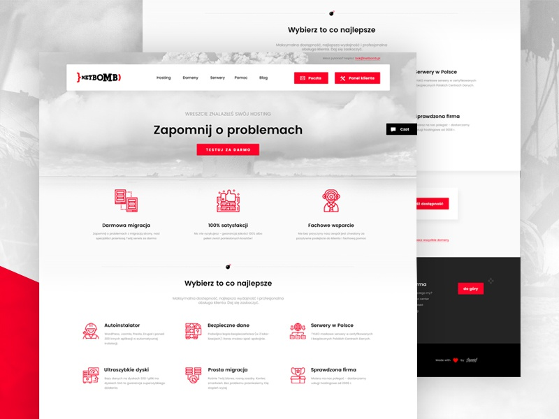 Netbomb - atomic hosting atomic web design ui user interface design web hosting fit minimal light bomb