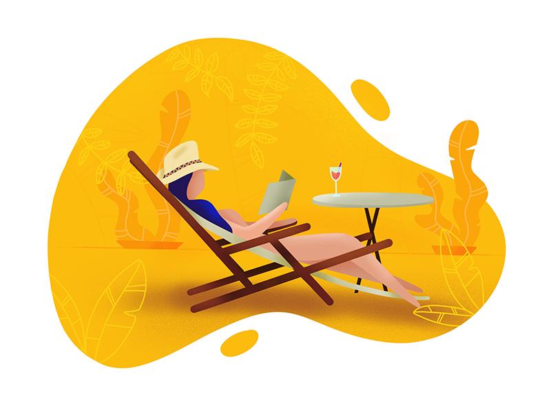 Chillout illustration chill holidays sun procreate web flat illustration
