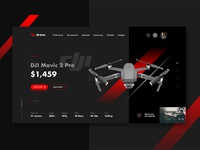 E-commerce drone shop shop ecommerce dji mavic drone web design dark web ui user interface minimal