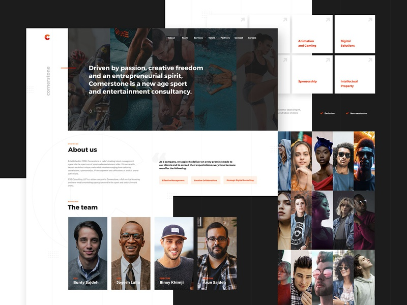 Cornerstone Sport Agency consulting agency sport minimal light user interface ui design web