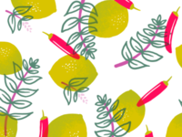 Thai Basil, Lime & Chili Packaging Pattern