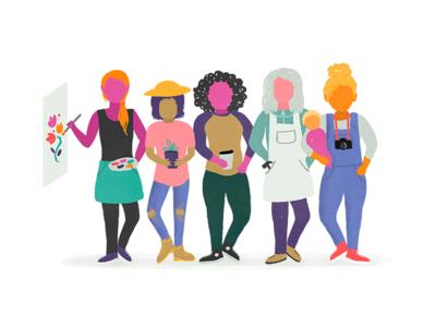 These Women Mean Business community nurture mother parenthood craft makers business female artist entrepreneur illustration women