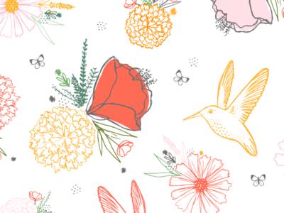 Hummingbirds & Flowers sketchy feminine pretty sweet summer flowers hibiscus floral butterfly hummingbird