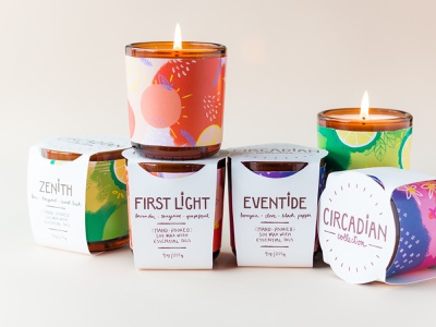 Circadian Candle Collection Packaging product branding candle packaging aromatherapy essential oils design illustration packaging candle ritual