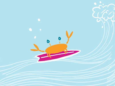 Ride the Wave fragrance fun orange illustration surf crab