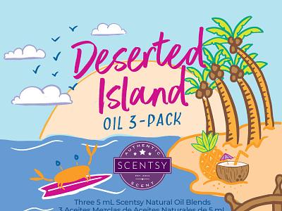 Deserted Island Oil 3-Pack | Packaging Design palms deserted island island beach sun sea ocean theme oil fragrance surf crab summertime summer
