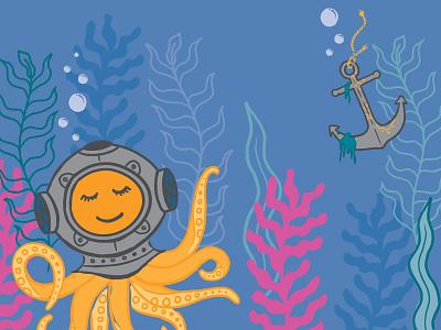 Deep Sea Dreamin' deep sea creatures under the sea illustration digital seaweed shipwreck dream ocean diver deep sea sea octopus