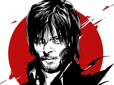 Daryl Dixon daryl dixon the walking dead dixon daryl blood zombie sketch portrait illustration