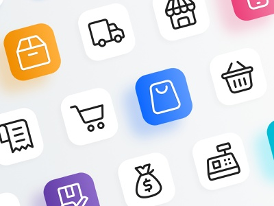 Friendly: Shopping and E-commerce ui thstudio icon design iconography icon