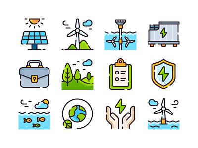 Icons for Inis Ealga Marine Energy Park Project power windmill green energy thstudio illustration illustrator iconography icon