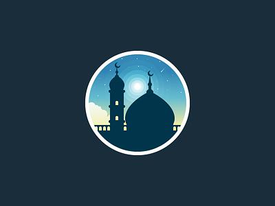 Mosque illustration night sky cloud muslim islam mosque