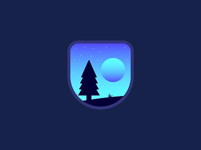 Night illustration sky tree moon landscape night