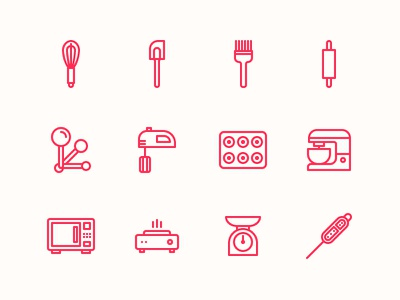 Baking Tools & Equipment Icons iconography pixel perfect baking illustrator vector line icon oven thermometer scale spoon brush