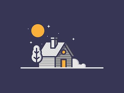 Cabin tree star moon night illustration drawing hut cabin