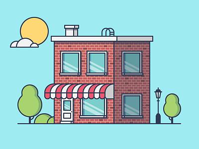 Cafe coffee tree cloud sun illustration restaurant cafe