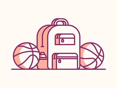 Dribbble Invitation basketball backpack illustration icon debut invitation invite