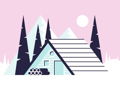 Cabin flat color illustration sun forest wood ice mountain snow winter cabin
