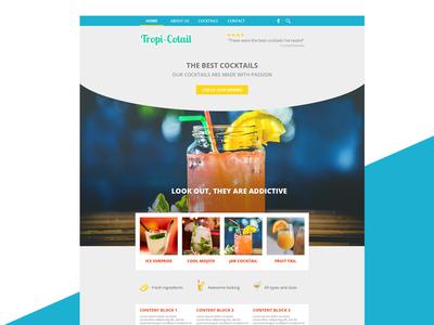 Website template design cocktails hero-image template flat-design photoshop webdesign