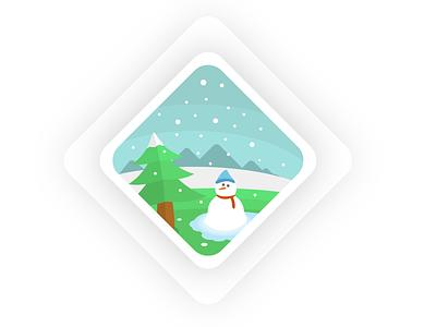 Winter Vacation snowman christmas tree visual design flat icon snow christmas illustrator illustration design artwork art