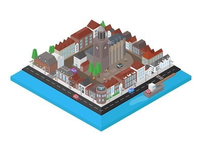 Isometric city in The Netherlands city deventer vector drawing isometric illustrator illustration